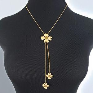 Vintage Enamel Dogwood Flower Bolo Style Necklace